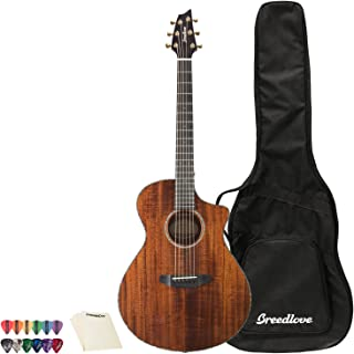 Breedlove Pursuit Exotic Concert CE Koa-Koa Acoustic-Electric Guitar with 12 Pick Sampler and Polish Cloth