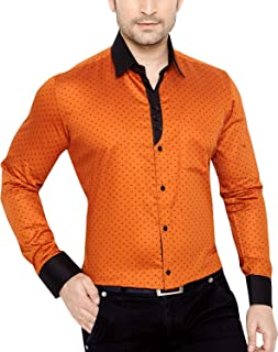 Global Rang Men's Cotton Casual Polka Printed Shirt