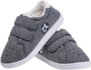Festooning Boy Little Kid's Winter Warm Plush Lined Comfy Slip-On Slippers Hard Sole Indoor Outdoor Shoes