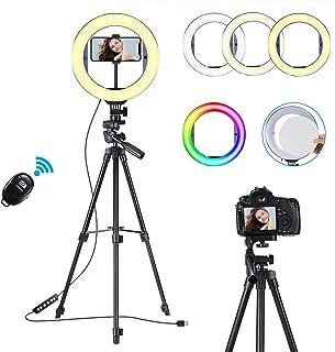 "10"" Anillo de Luz Led Fotográfica, Aro de Luz Para Movil Tripode,Color RGB Ring Light con Wireless Control Remoto 3 Colore..."