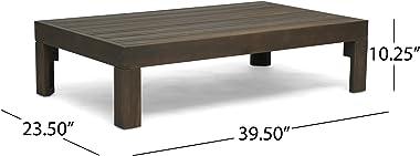 Christopher Knight Home Alice Outdoor 5 Piece Acacia Wood Sofa Set, Gray Finish, Dark Gray