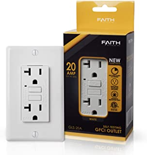 Faith Electric 20A GFCI Outlet Slim, Non-Tamper-Resistant GFI Duplex Receptacle with LED Indicator, Self-Test Ground Fault Circuit Interrupter with Wall Plate, ETL Listed, 1-Pack, White