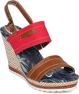 Women's Open Toe Denim Platform Wedge Sandals Summer Ankle Strap Dress Shoes JN