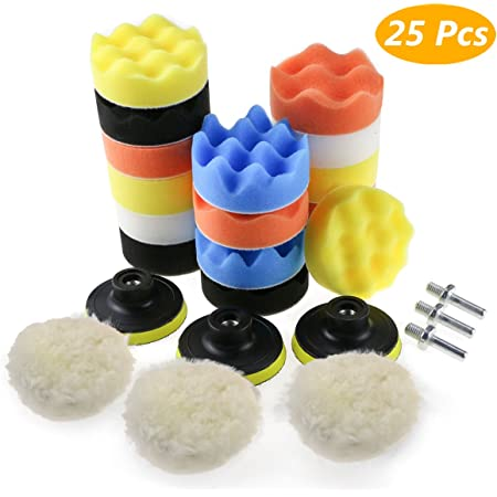 """7x 3 /""""tampon de polissage auto Kit de meulage de roue avec adaptateur de foret"""