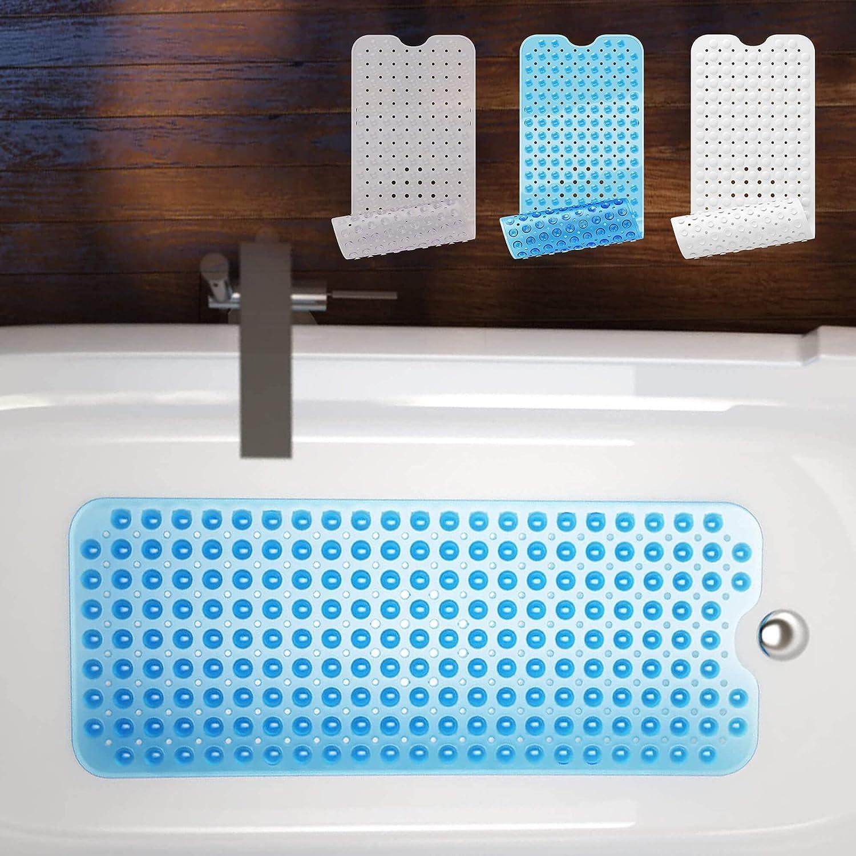 Reach – Alfombrilla para bañera de Beartop, 40 x 100 cm, 200 ventosas sin BPA, antideslizante, lavable a máquina, resistente al moho azul azul Talla:40 x 100cm