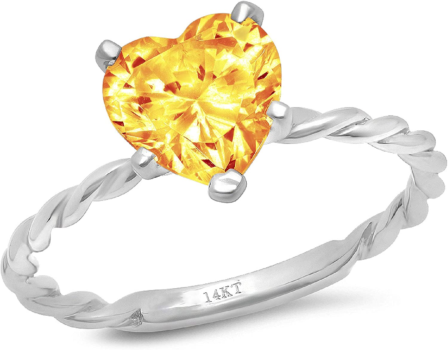 2.0 ct Brilliant Heart Cut Solitaire Y Twisted Natural Quantity limited Max 79% OFF Rope Knot