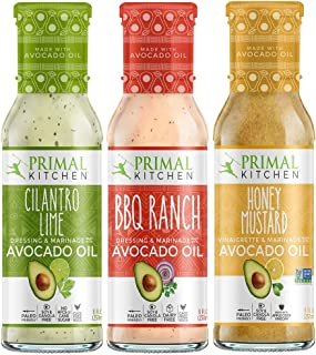 Primal Kitchen Avocado Oil Dressing & Marinade NEW Flavors 3 Pack Dressing - Cilantro Lime, BBQ Ranch, and Honey Mustard