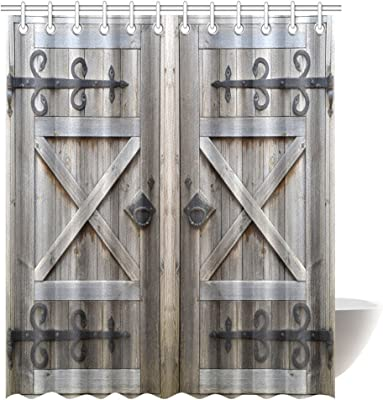 InterestPrint Old Wooden Door Shower Curtain, American Style Retro Country Barn Wood Door Pattern,