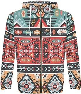 Custom Colorful Aztec Tribal Design Men's Full-Zip Zipper Hoodies Sweatshirt
