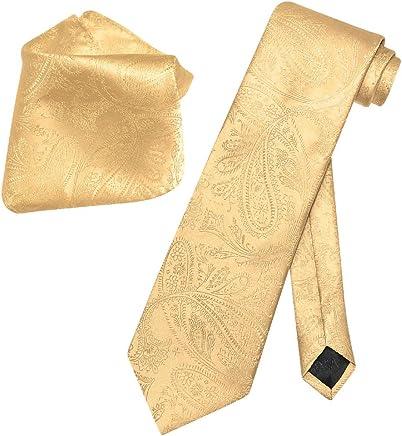 bdfffb4981fb7 Vesuvio Napoli Gold Color PAISLEY NeckTie & Handkerchief Matching Neck Tie  Set