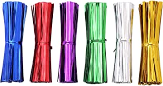 AIRSUNNY 600 pcs 4'' Metallic Twist Ties - 6 Colors red blue green gold silver and pink