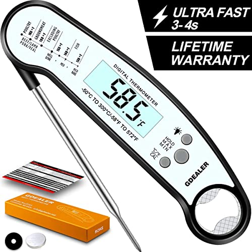 GDEALER DT13 Digital Waterproof Instant Read Meat Thermometer with Backlight Calibration Bottle Opener for Kitchen Co...