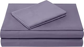 Comfort Spaces Ultra Soft Hypoallergenic Microfiber 4 Piece Set, Wrinkle Fade Resistant Sheets with Pillow Cases Bedding, Twin, Purple
