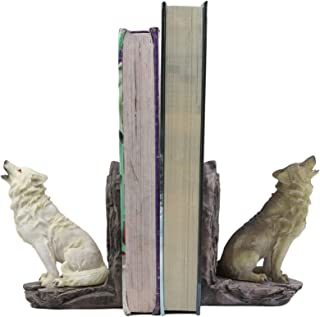 "Ebros Animal Totem Spirit Howling Gray And Snow Wolves Decorative Small Bookends Figurine Set 5.5""Tall As Timberwolf or Wo..."