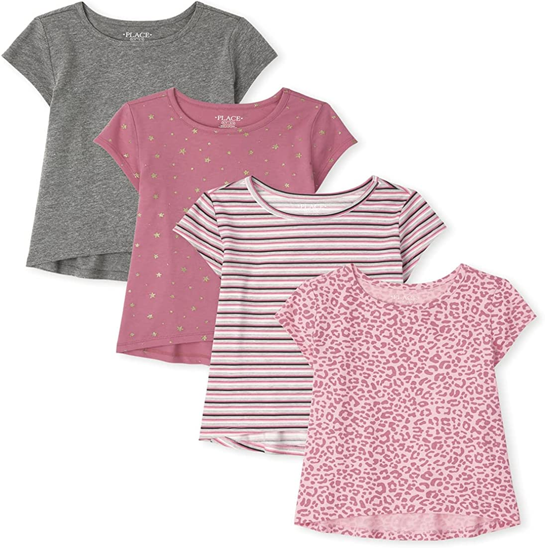 The Children's Place Girls' Short Sleeve Print Top 4-Pack