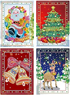 Christmas Card Diamond Painting Christmas Tree Santa Claus Full Drill New Year Greeting Card Christmas Stickers Embroidery Cross Stitch Home Decor(4 Pack)
