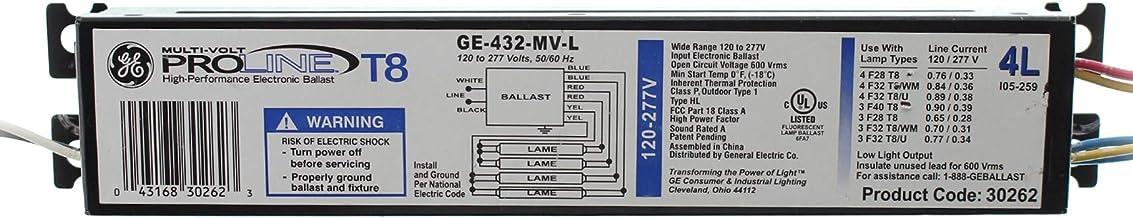 10 Pack GE432MAXP-N//Amp 3 or 4 Lamp T8 120-277 Volt P-Series Ballast GE 75928