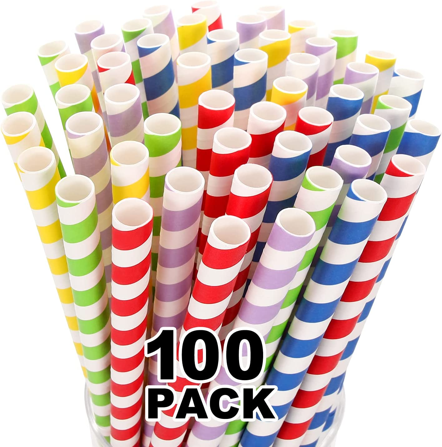 100 Mesa Mall Pack Extra Wide Paper Smoothie Baltimore Mall - 10 mm Bi Boba Straws