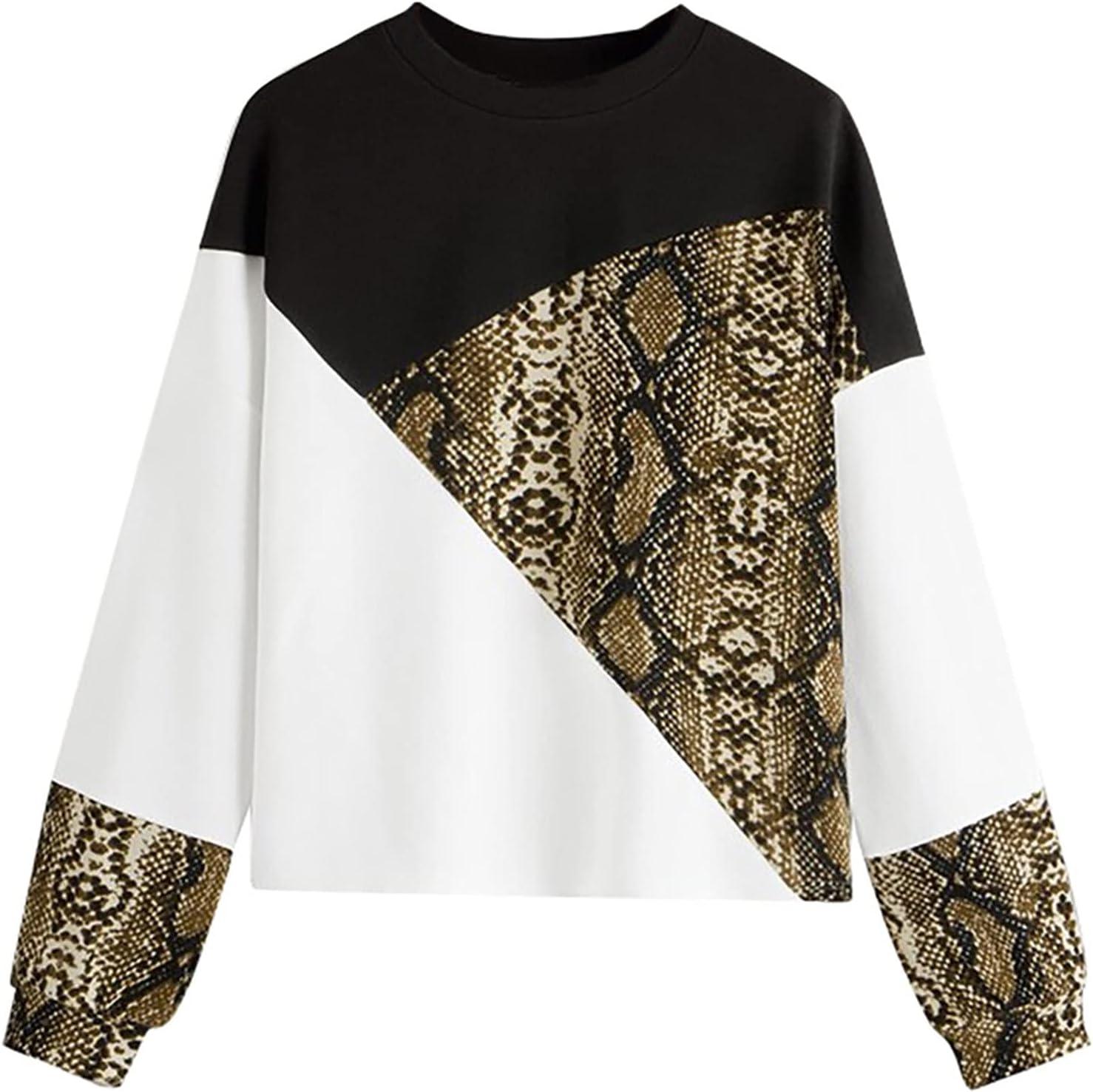 Womens Tops Women's Long Sleeve Block Snake Color Pullover Print Cheap Cheap bargain