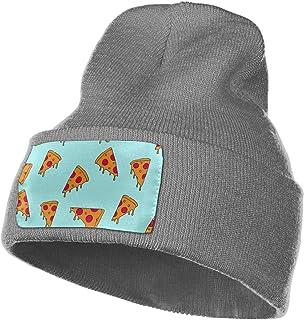 a43ebdea256 ginarew Pizza Cartoon Pattern Winter Beanie Hat Warm Knit Cuff Toboggan Ski  Plain Skull Cap Unisex