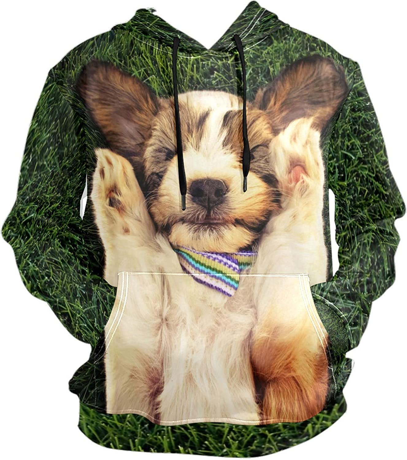 Men's Sport Hoodie Cute Coquettish Yorkshire Puppy Dog Big and Tall Hoodies for Men Women Oversized Hooded Sweatshirt Hip Hop Pullover Hoodie Midweight Hood for Boys Girls