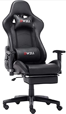 EDWELL Computer Gaming Chair, Height Adjustable Swivel PC Chair with Retractable Footrest Headrest and Lumbar