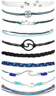 Long tiantian Vsco Bracelets Ocean Wave Bracelet Adjustable Waterproof Handmade Strand Braided Rope Summer Sunflower Bracelet Set Christmas Jewelry Gift for Women Teen Girls