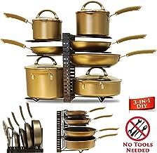 Pot Rack Organizer with 3 DIY Methods. Adjustable 8 tier Pan & Pot Lid Holder. Counter top, Cabinet, Pantry & Under Sink Kitchen Storage. Upgraded (Black)