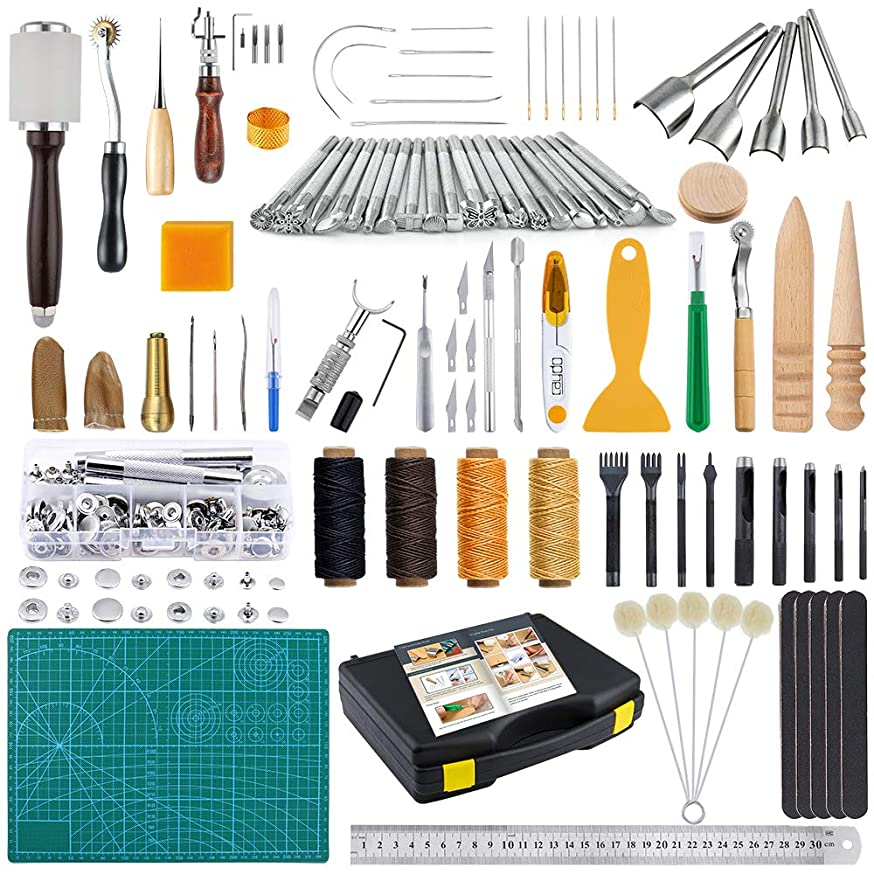 Caydo 127 Pieces Leather Craft Tools Kit with Instructions, Leather Sewing Tools, Punch Tools, Rivets Tools, Stamping Set and Wooden Handle Nylon Hammer for Leather Craft and Saddle Making Tools