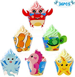 Bessmoso Ocean Sea Animal Cupcake Wrappers, Under The Sea Party Supplies, Kids Birthday Party Baby Shower Decorations 36 Pack