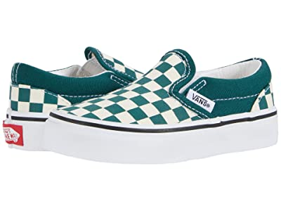 Vans Kids Classic Slip-On (Little Kid) ((Checkerboard) Bistro Green/True White) Kids Shoes