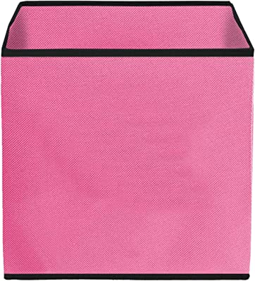 Kuber Industries Non Woven Fabric 3 Pieces Foldable Small Size Storage Cube Toy, Books, Shoes Storage Box with Handle, Extra Small (Pink & Brown & Purple)-KUBMART1870