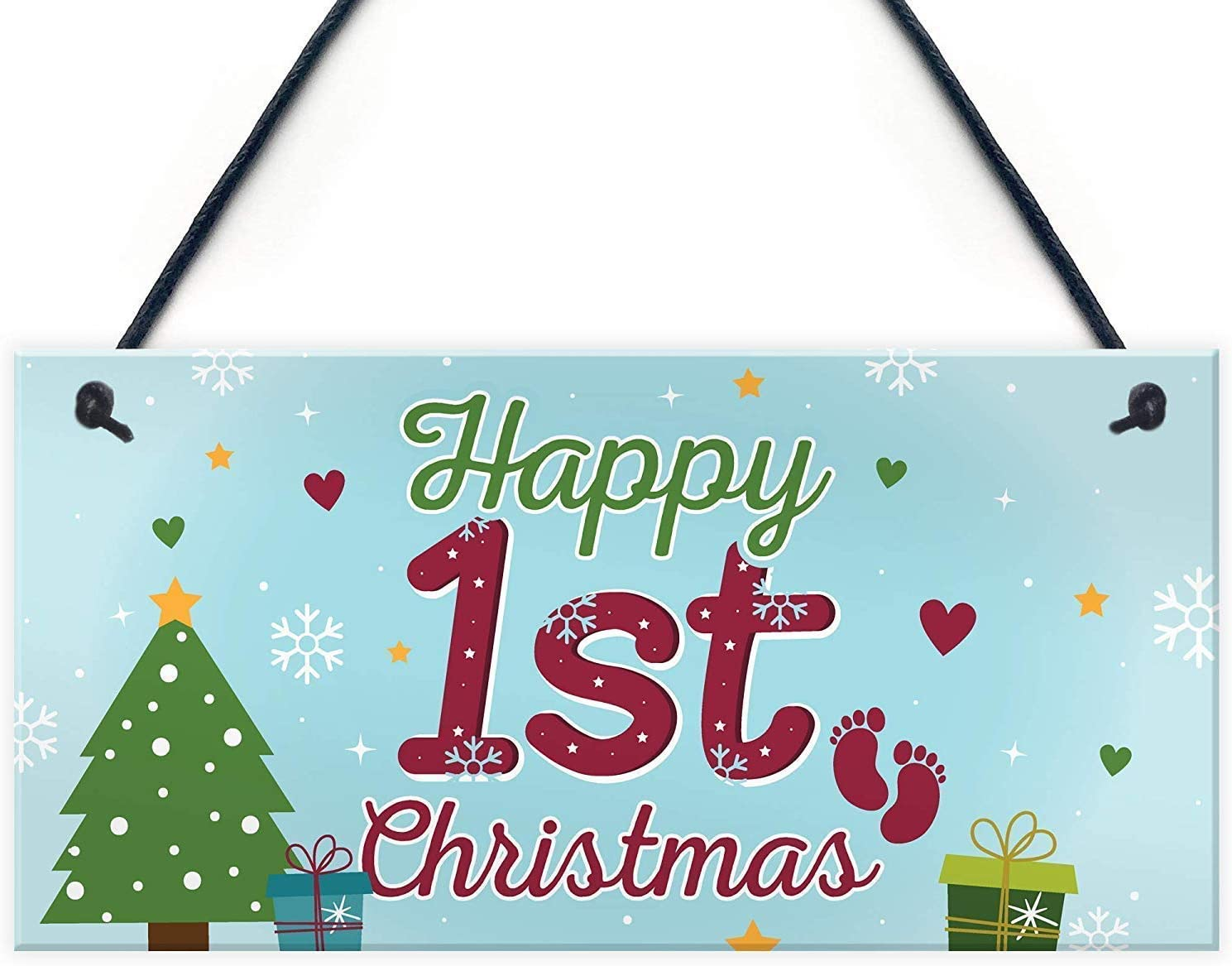 AYYUCY Wood Gorgeous Sign Hanging Wall Art Christma 1st Happy Gorgeous First Baby