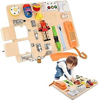 GJCrafts Jouet Montessori pour Apprendre la motricité Fine et Les compétences de Base de la Vie Busy Board pour Enfants Jo...