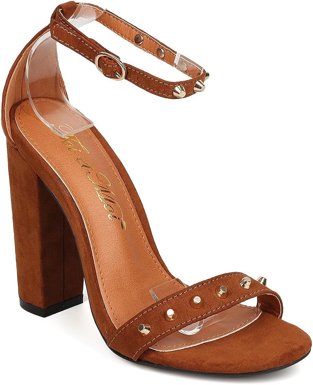 Women Faux Suede Open Toe Studded Ankle Strap Block Heel Sandal FB94 - Brown