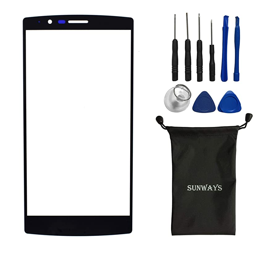 sunways Outer Glass Lens Screen Replacement for LG G4 H810 H811 H815 VS986 LS991 F500L with Device Opening Tools(Black)