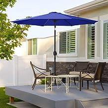 MASTERCANOPY Patio Umbrella Outdoor Fe-Al Market Table Umbrella with 8 Sturdy Ribs (9ft,Blue)