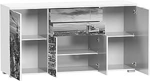 Abitti Aparador o bufe para cocina, comedor o salon en color blanco con serigrafia Nueva York 2 cajones y 4 puertas 160x86x45