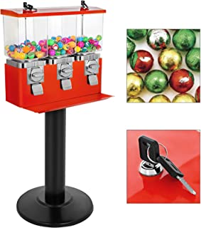 VBENLEM Triple Head Candy Vending Machine with Stand Triple Pod Candy Gumball Vending Machine on Stand Commercial 3-Containers Gumball Bank Gumball Bank (Red)