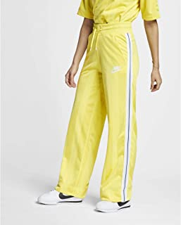 Nike Women's Sportswear Open Hem Shdw Strp Pants, Yellow Pulse/Antique Silver/White, Large (NKAR2295-785)