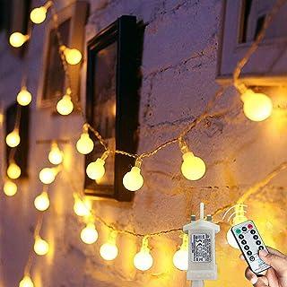 Globe String Lights Waterproof, 15M/49ft 120 LED Fairy Lights Plug in Powered, 8 Modes Christmas Lights Outdoor/Indoor, Ga...