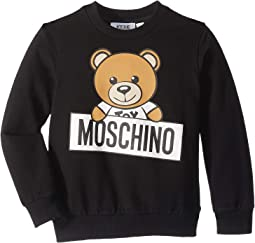 Long Sleeve Teddy Bear Logo Graphic Sweat Top (Little Kids/Big Kids)