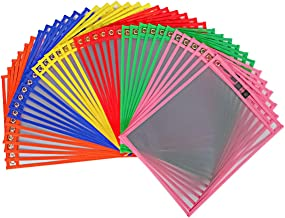 EasyPAG Reusable Dry Erase Sleeves 36 Pack- 10 x 13 inch 6 Assorted Colors Clear Plastic Pockets Sheet Protectors