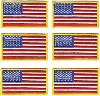 6 Pack - American Flag Embroidered Patch Iron On or Sew On Military / Police flag Patch (red)