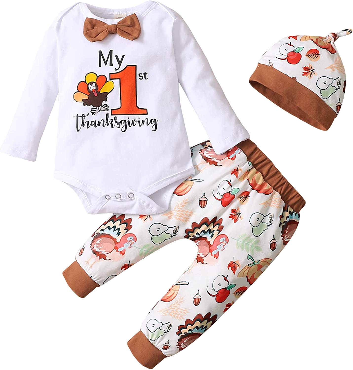 Thanksgiving Day Infant Baby Girl Boy Autumn Clothes Turkey Outfit Unisex Baby Letter Hoodie Top + Pant Set 2Pcs