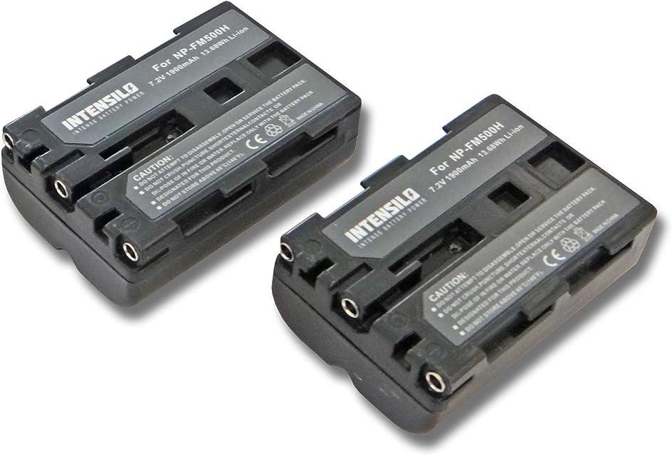 INTENSILO 2x Li-Ion batería 1900mAh (7.2V) para cámara de video Sony Alpha DSLR-A200 DSLR-A200K DSLR-A200H DSLR-A200W por NP-FM500H