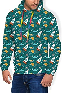 GULTMEE Men's Hoodies Sweatershirt, Outer Space Cartoon with Dotted Backdrop Futuristic Themes Saturn Sun and Nebula,5 Size