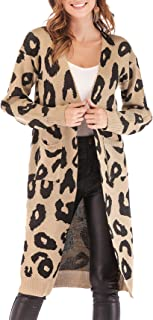 BTFBM Women Long Sleeve Open Front Leopard Knit Long Cardigan Casual Print Knitted Maxi Sweater Coat Outwear with Pockets