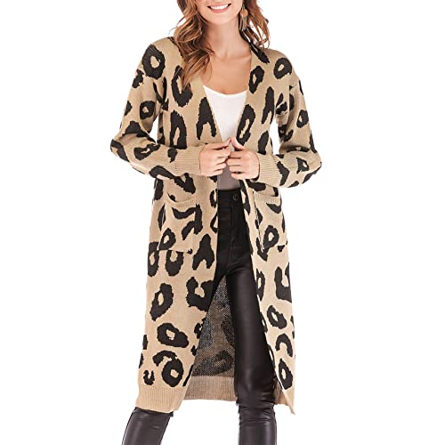 2dce86b40ced8c BTFBM Women Long Sleeve Open Front Leopard Knit Long Cardigan Casual Print  Knitted Maxi Sweater Coat