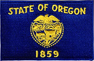 State of Oregon Flag - Yellow on Blue - Embroidered Iron On or Sew On Patch